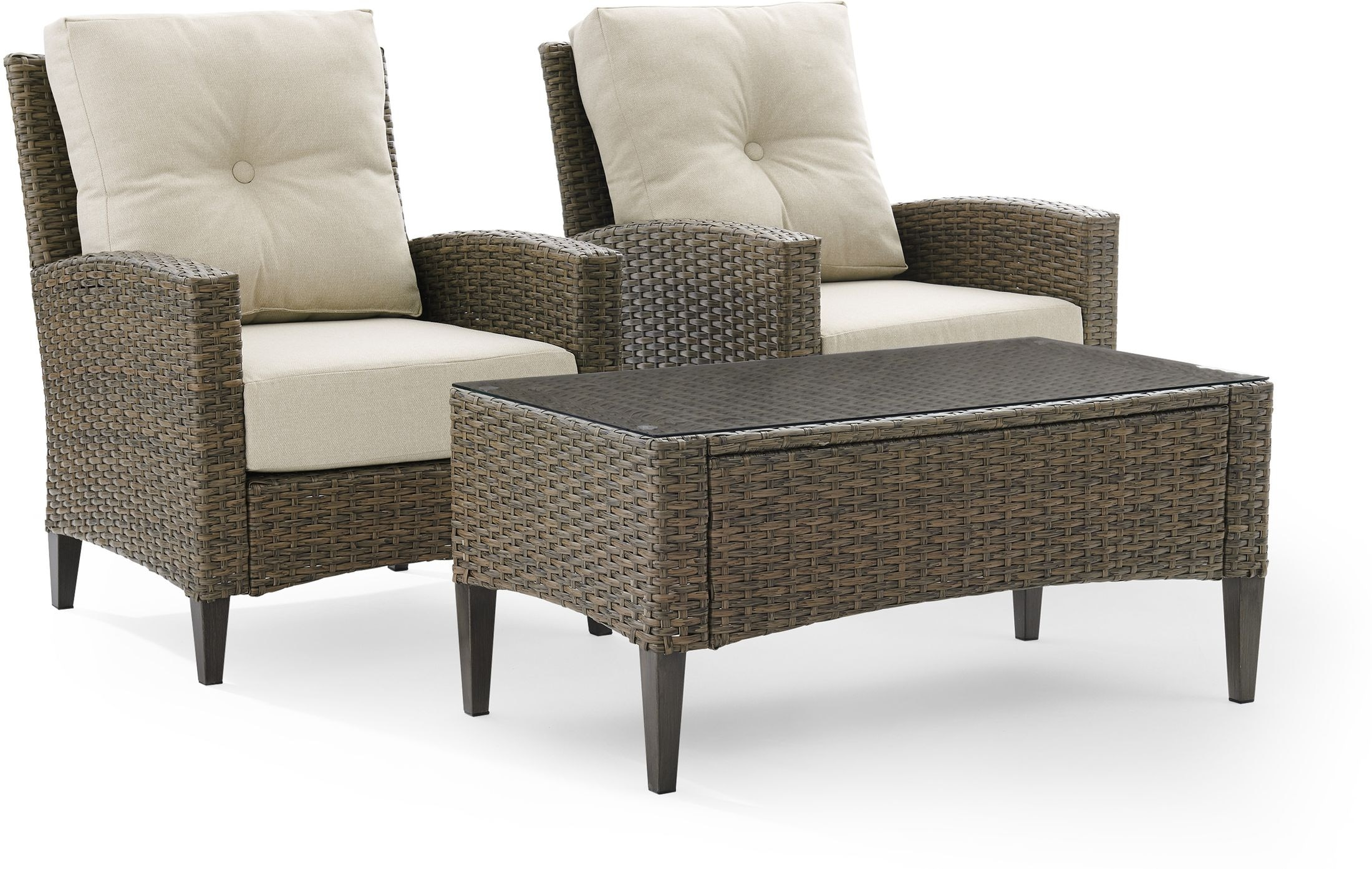 Outdoor Furniture - Huron Set of 2 Outdoor Chairs and Coffee Table