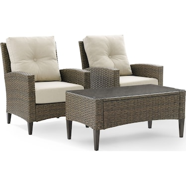 Huron Set of 2 Outdoor Chairs and Coffee Table