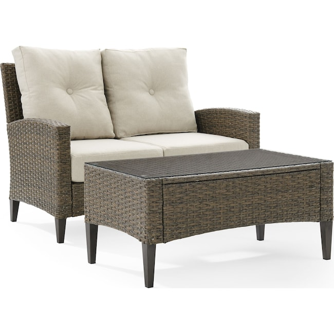 Outdoor Furniture - Huron Outdoor Loveseat and Coffee Table Set