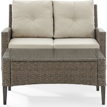 huron light brown outdoor loveseat set