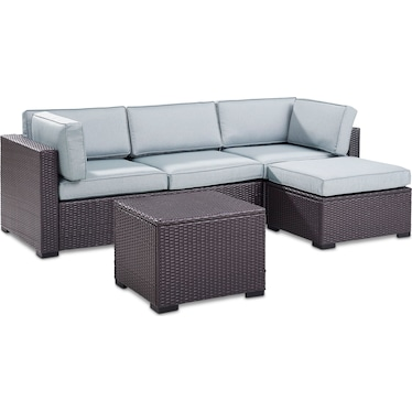 Isla 2-Piece Outdoor Sofa, Ottoman, and Coffee Table Set - Mist