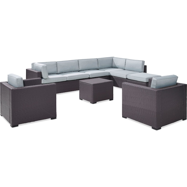 Outdoor Furniture - Isla 3-Piece Outdoor Sectional, 2 Armchairs, Coffee Table, and Ottoman Set