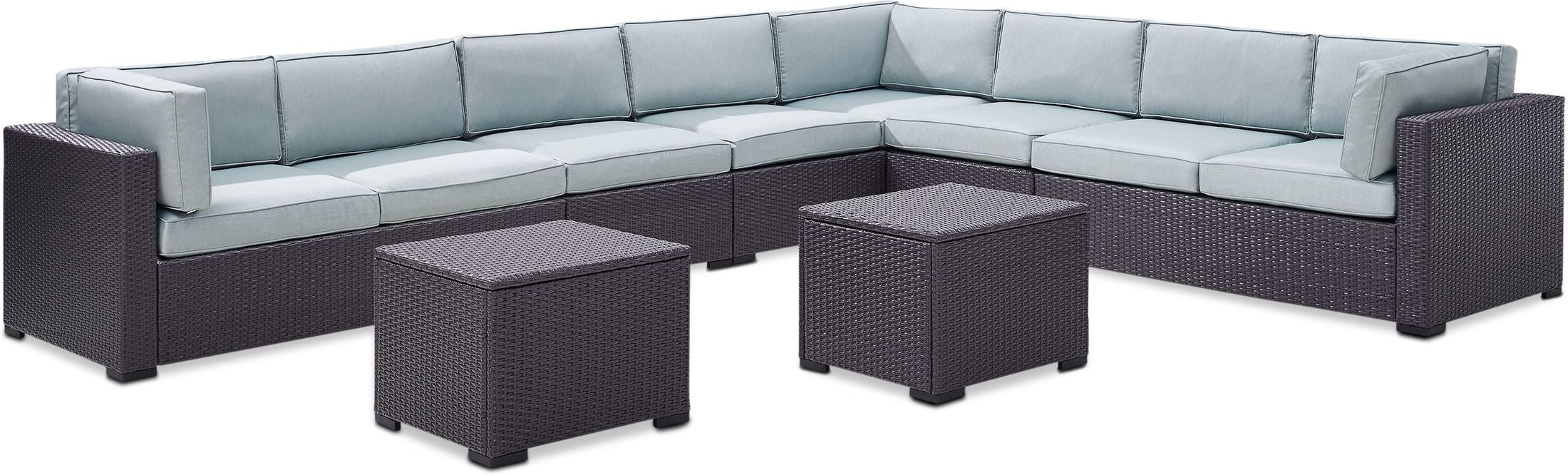 Outdoor Furniture - Isla 5-Piece Outdoor Sectional and 2 Coffee Tables Set