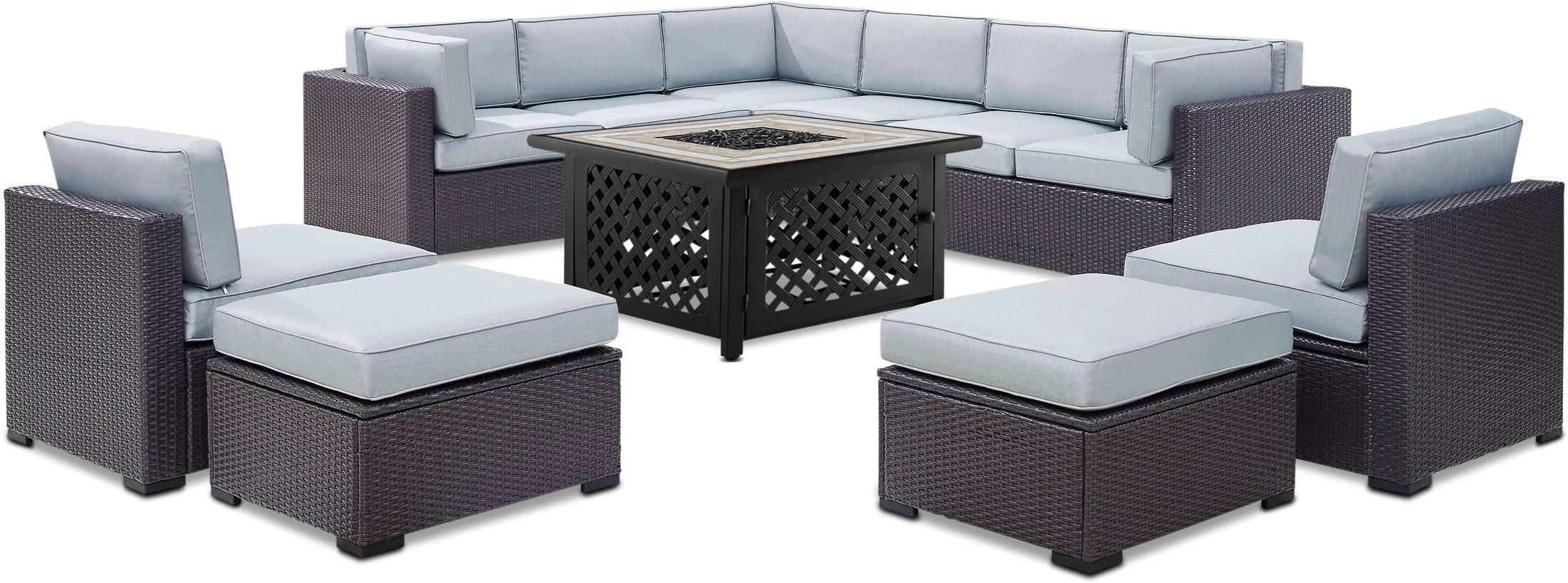 Outdoor Furniture - Isla 3-Piece Outdoor Sectional, 2 Armless Chairs, 2 Ottomans and Fire Table Set