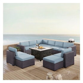 Isla 3-Piece Outdoor Sectional, 2 Armless Chairs, 2 Ottomans and Fire Table Set