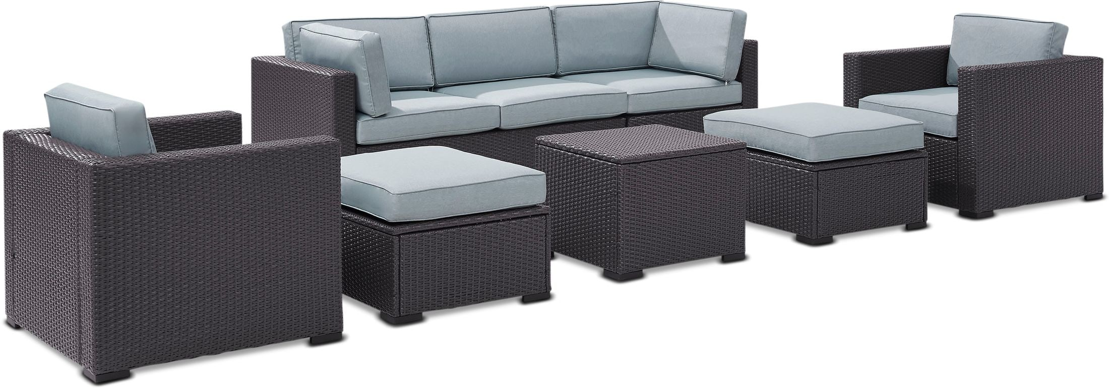 Outdoor Furniture - Isla 2-Piece Outdoor Sofa, 2 Armchairs, Coffee Table, 2 Ottomans