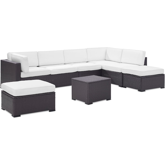 Outdoor Furniture - Isla 3-Piece Outdoor Sectional, Coffee Table, and 2 Ottomans Set