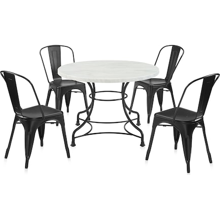 """Izzy 40"""" Table and 4 Tori Chairs"""