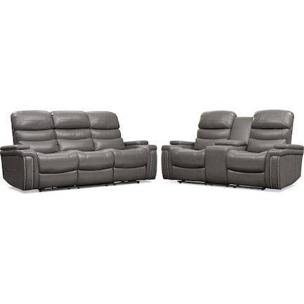 Jackson Triple-Power Reclining Sofa and Loveseat Set - Gray