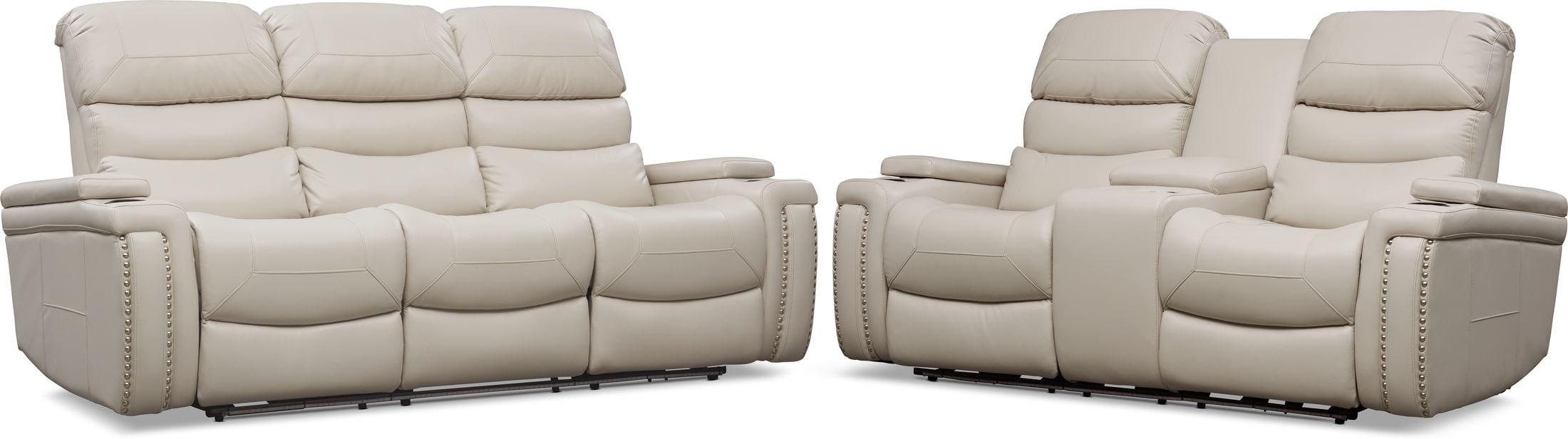 Living Room Furniture - Jackson Triple-Power Reclining Sofa and Loveseat Set