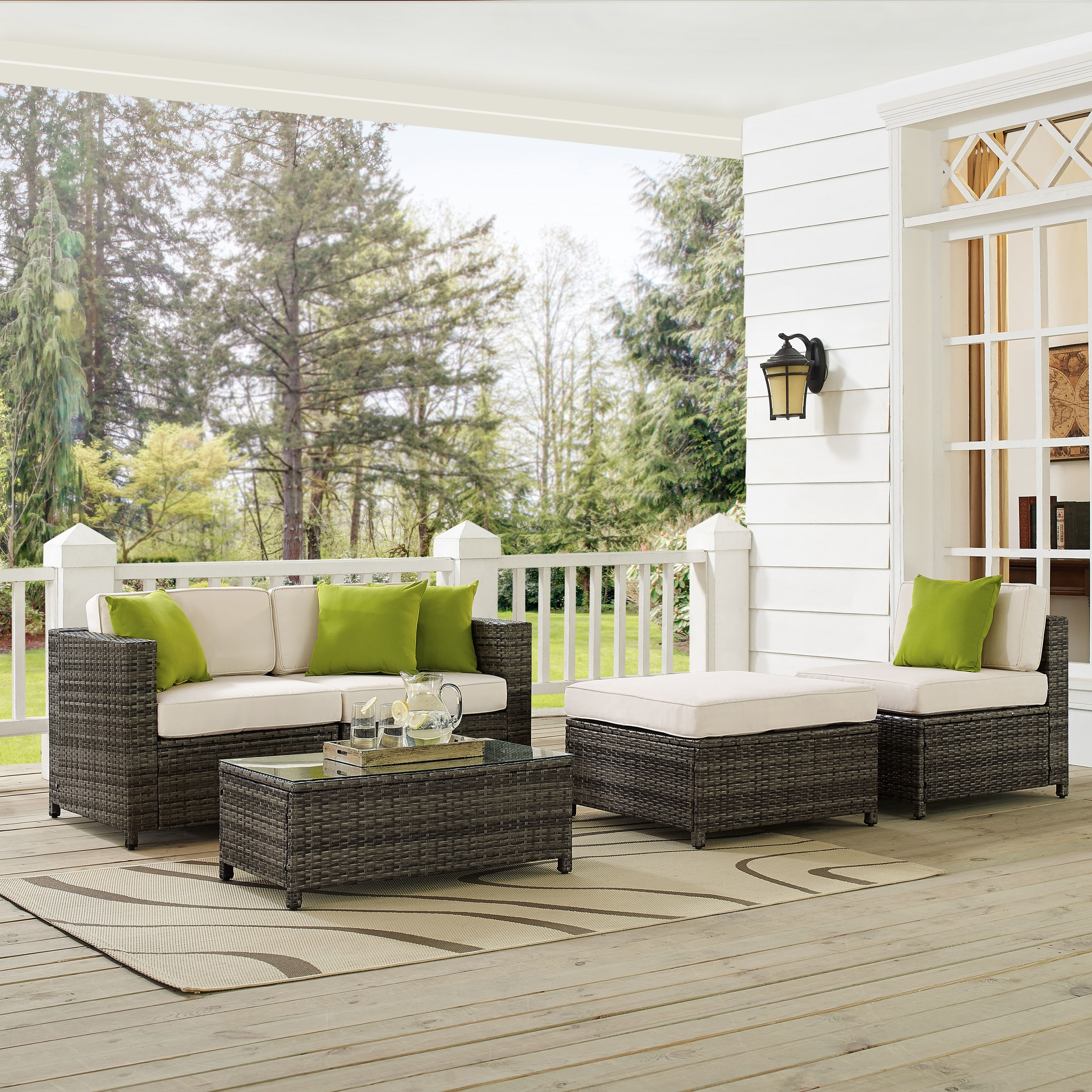 Outdoor Furniture - Lakeside 2-Piece Outdoor Loveseat, Armless Chair, Ottoman, and Coffee Table Set