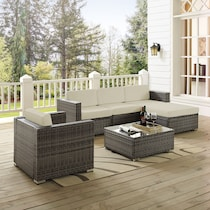jacques gray cream outdoor loveseat set
