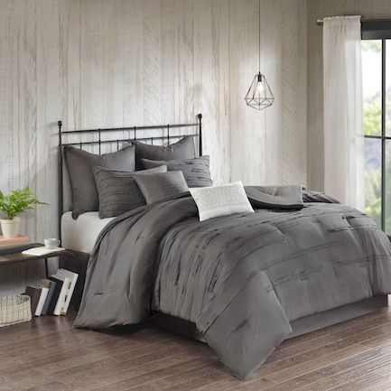 Jaycee Queen Comforter Set - Gray