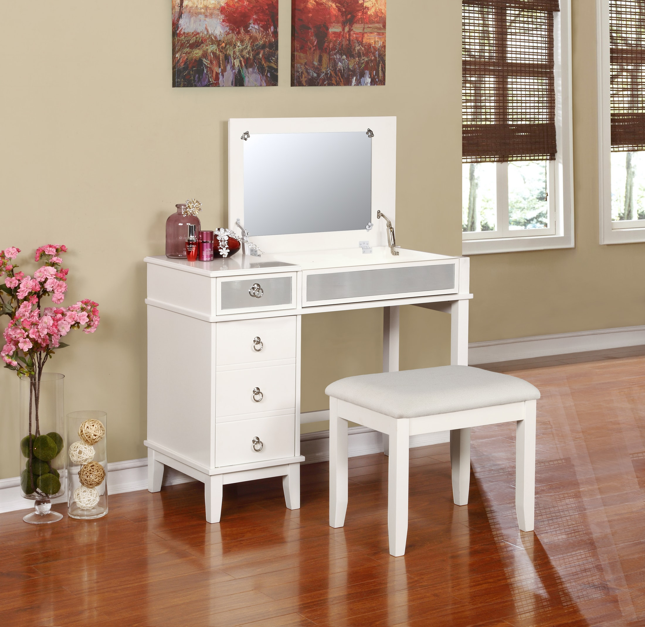 vanity desk with drawers