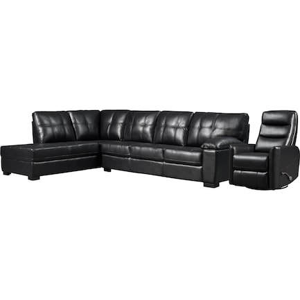 Jones 2-Piece Sectional with Left-Facing Chaise and Manual Swivel Recliner - Black