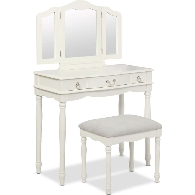 Accent and Occasional Furniture - Kendall Youth Vanity, Mirror, and Stool Set