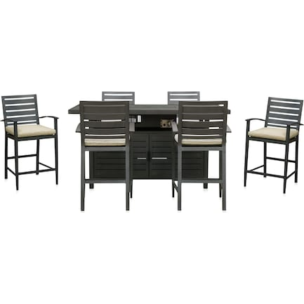 Lakeway Fire Table and 6 Counter-Height Stools