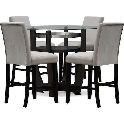 Lennox Counter-Height Dining Table and 4 Stools - Gray