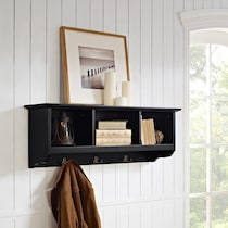 levi black entryway storage shelf