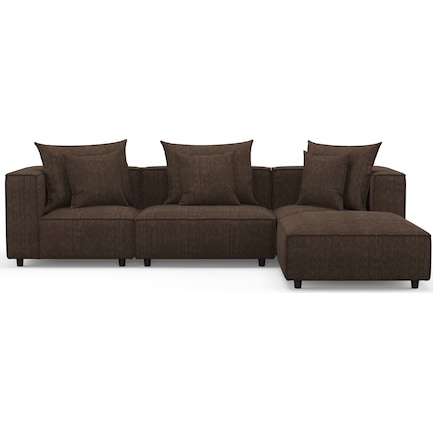 Logan 3-Piece Sectional with Ottoman - Weddington Charcoal