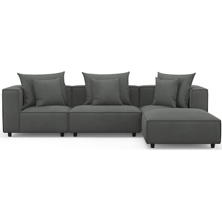 Logan Performance Fabric 3-Piece Sectional with Ottoman - Peyton Pepper