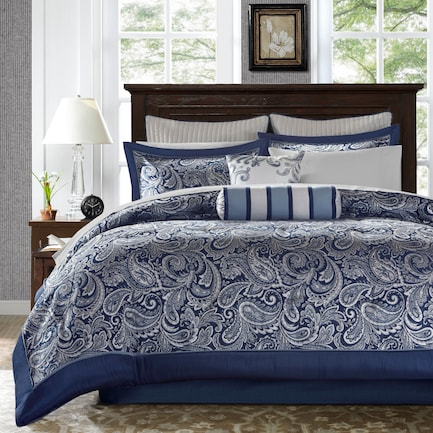 Louisiana Queen Complete Bed Set - Blue
