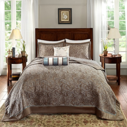 Louisiana Queen Reversible Bedspread Set - Taupe