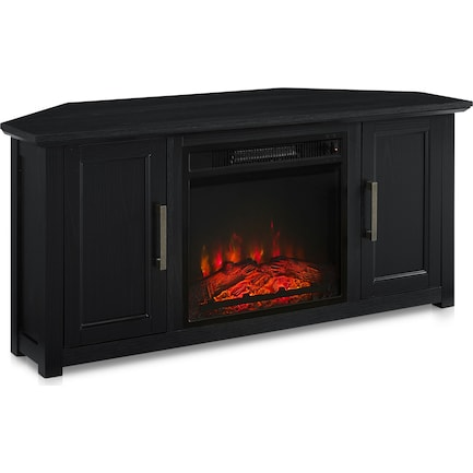 """Lucas 48"""" Corner TV Stand with Fireplace - Black"""