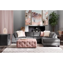 mackenzie gray and blush  pc sectional and ottoman