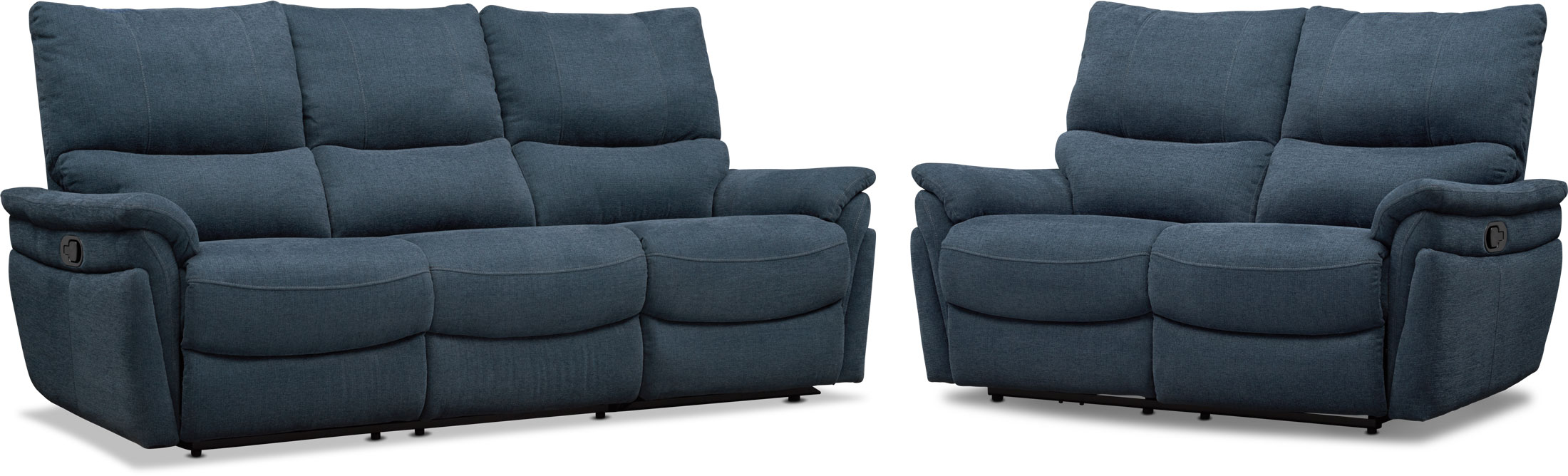 Living Room Furniture - Maddox Manual Reclining Sofa and Loveseat