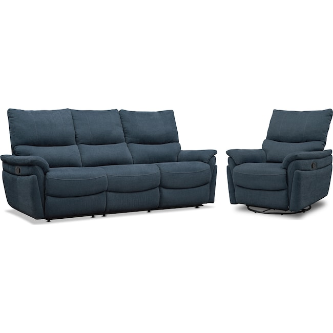 Living Room Furniture - Maddox Manual Reclining Sofa and Swivel Recliner