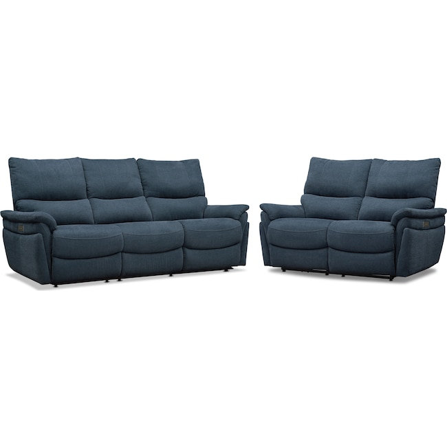 Living Room Furniture - Maddox Triple-Power Reclining Sofa and Loveseat