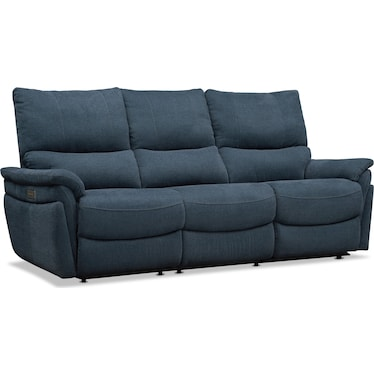 Maddox 2-Piece Triple-Power Reclining Sofa - Blue