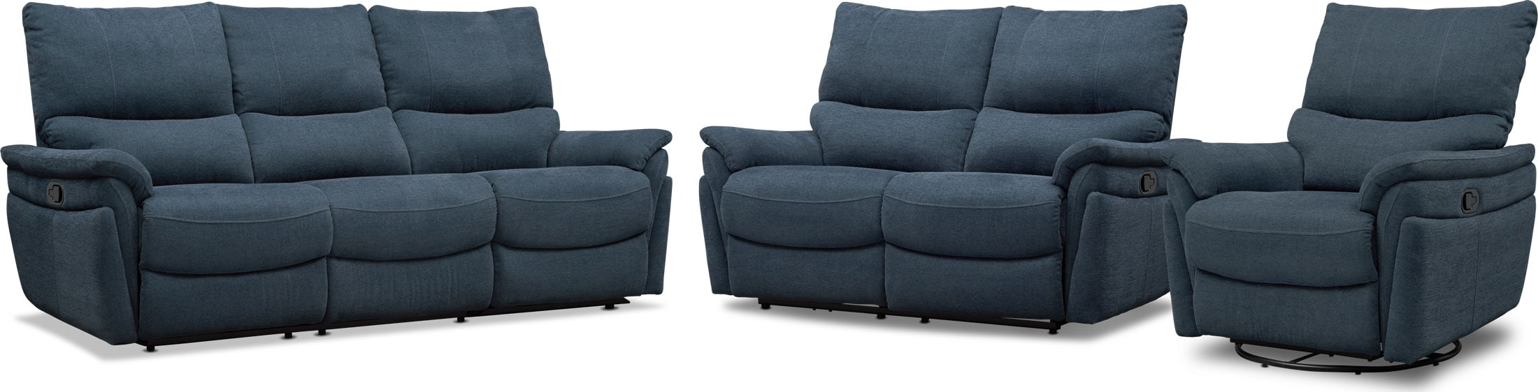 Living Room Furniture - Maddox Manual Reclining Sofa, Loveseat and Swivel Recliner