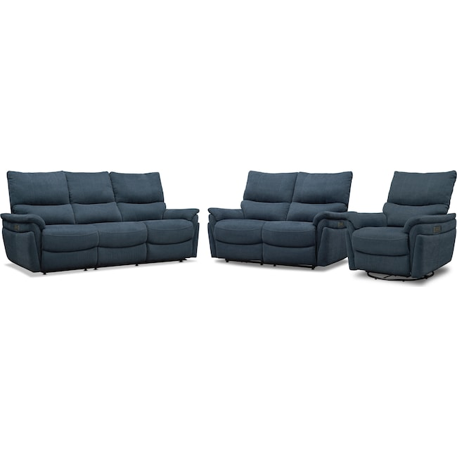 Living Room Furniture - Maddox Triple-Power Reclining Sofa, Loveseat and Swivel Recliner