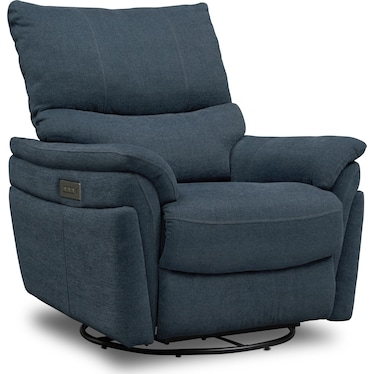 Maddox Triple-Power Swivel Recliner - Blue