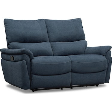 Maddox Manual Reclining Loveseat - Blue
