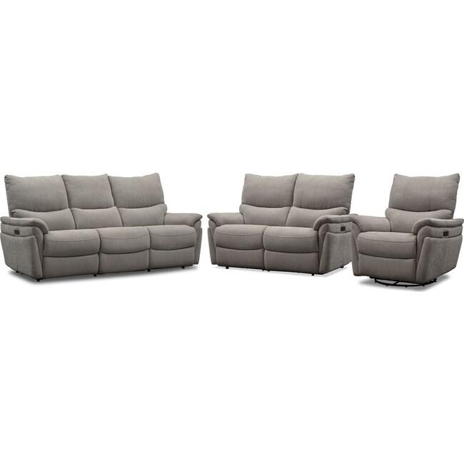Living Room Furniture - Maddox Triple-Power Reclining Sofa, Loveseat and Swivel Recliner