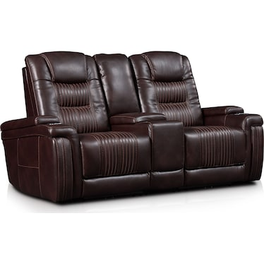 Magnus 3-Piece Triple-Power Reclining Sofa with Console - Brown