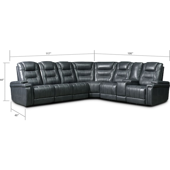 Living Room Furniture - Magnus 7-Piece Triple-Power Reclining Sectional with 3 Reclining Seats