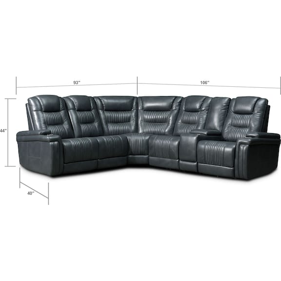 Living Room Furniture - Magnus 6-Piece Triple-Power Reclining Sectional with 3 Reclining Seats