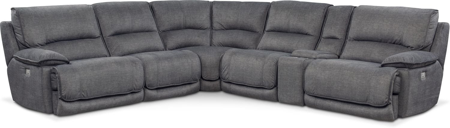 Living Room Furniture - Mario 6-Piece Dual-Power Reclining Sectional with 3 Reclining Seats