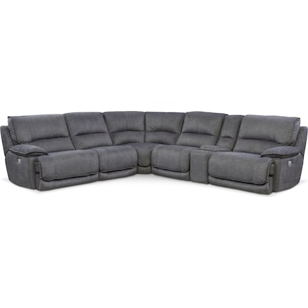 Mario 6-Piece Dual-Power Reclining Sectional with 2 Reclining Seats - Charcoal