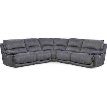 Mario 5-Piece Dual-Power Reclining Sectional with 2 Reclining Seats - Charcoal