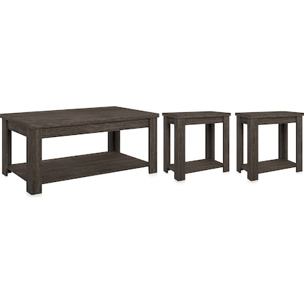 Mavis 3-Piece Set with Coffee Table and 2 End Tables - Espresso Oak