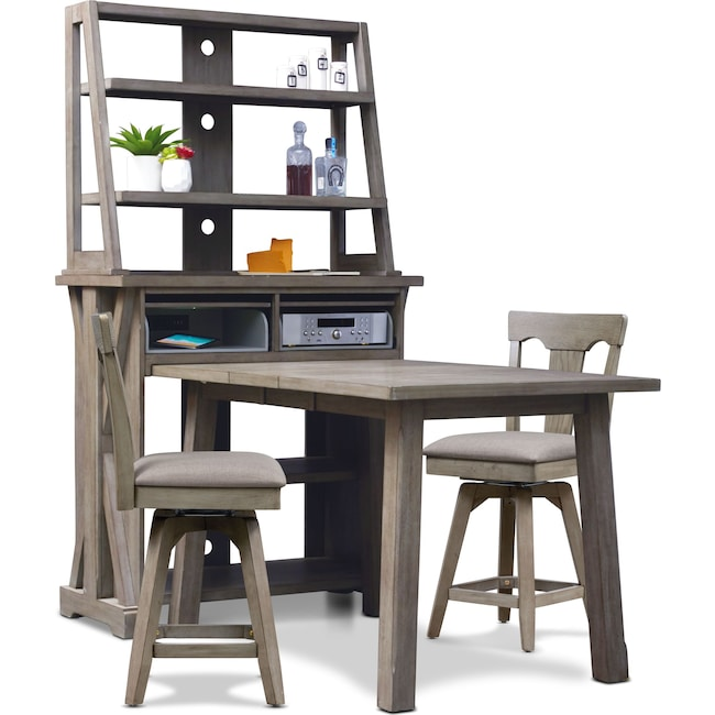 Dining Room Furniture - Maxton Counter-Height Dining Table with Media Hutch and 2 Stools