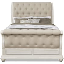 mayfair white queen upholstered bed