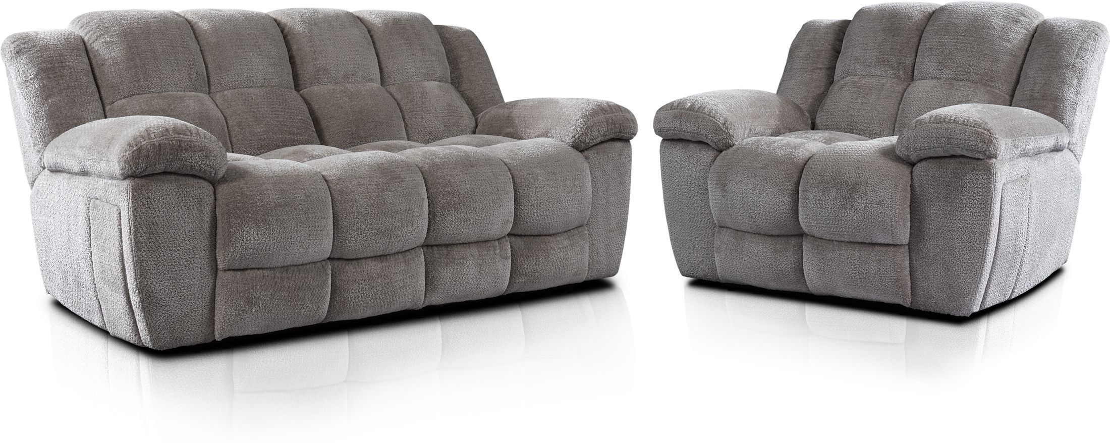 Living Room Furniture - Mellow Manual Reclining Sofa and Recliner Set - Stone