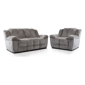 Mellow Manual Reclining Sofa and Recliner Set - Stone