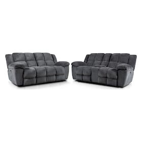Mellow Dual-Power Reclining Sofa and Loveseat Set - Gray